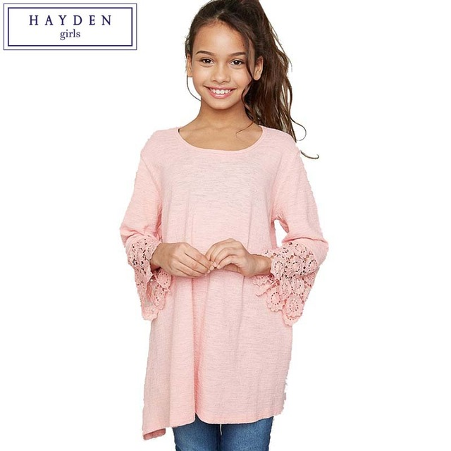 8a1b961e1490 HAYDEN Girls Tunic Tops Brand Designer Clothes for Children Autumn 2017  Teens Girl Kids Lace Bell Sleeve Tee Shirts Size 7 to 14