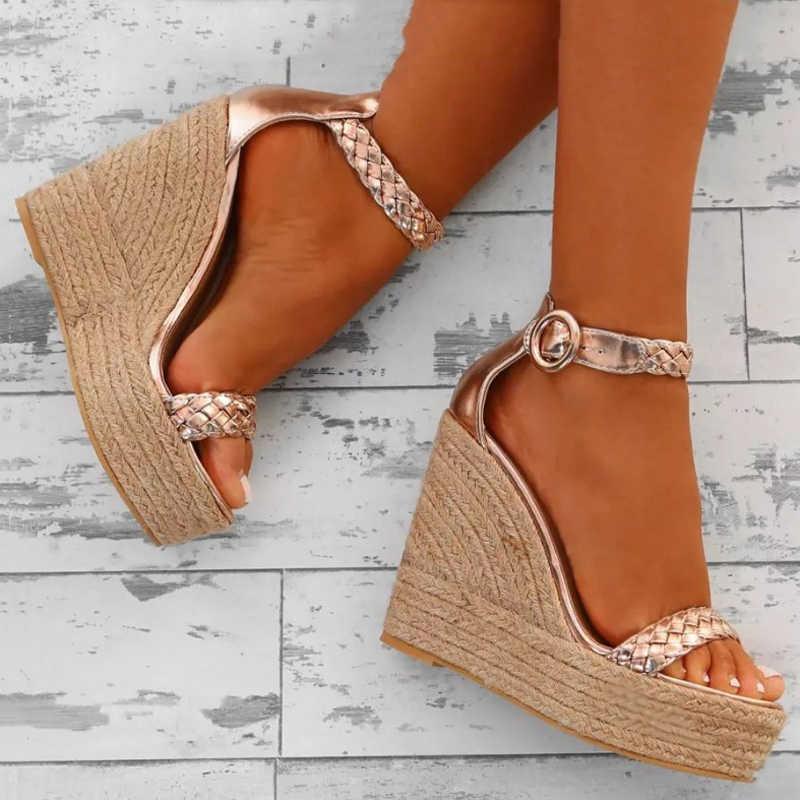 2d985824c5 ... 2018 Summer Women Sandals Fashion High Heels Buckle Gladiator Sandals  Platform Wedge Shoes for women big