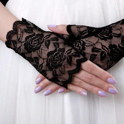 Короткие кружева перчатки без пальцев, кружева цветы украшают перчатки, свежие розы невесты свадебный этикет перчатки.