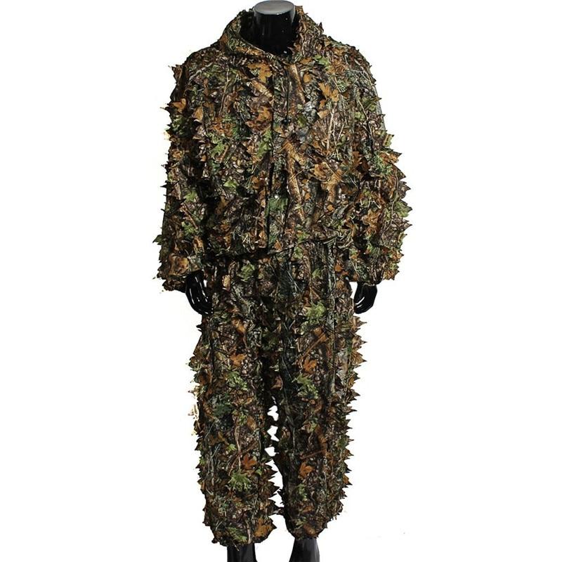 Hommes respirant printemps automne Camouflage vêtements 3D feuillu Ghillie costume pour chasse jeu de tir photographie de la faune