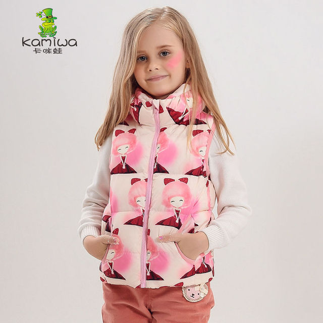 KAMIWA 2017  Girl down vest  Printing Girl Vest Coat Winter Jackets Down Coats Children's Clothing Outwear Costume Kids Clothes