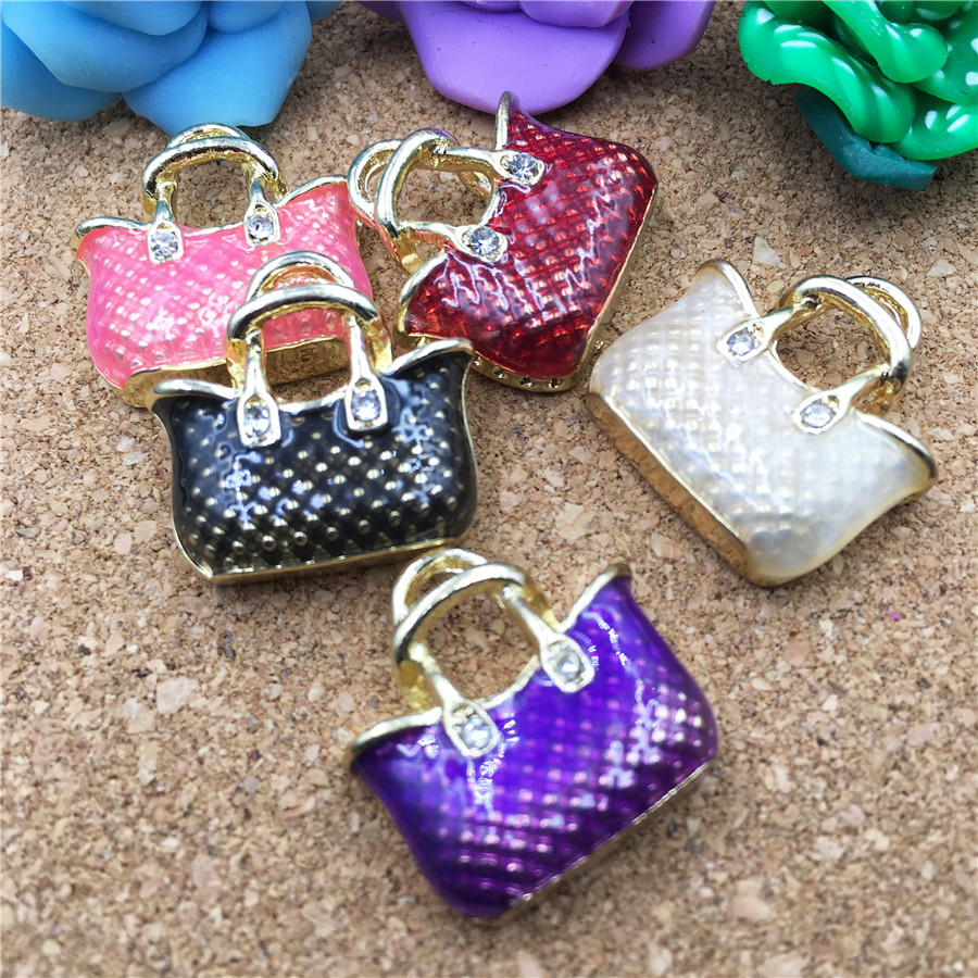 Newest Fashion Women Handbag Oil Drop Jewelry Charms Gold Tone Alloy DIY Phone Chain keyring Bracelet Necklace Floating Charm