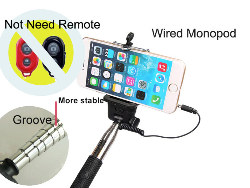 selfie stick wired z07 5s cable monopod cable take pole 3 in1 extendable handheld phone monopod. Black Bedroom Furniture Sets. Home Design Ideas
