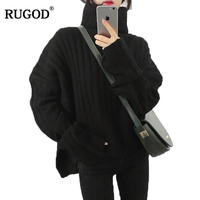 RUGOD 2018 Autumn Winter Vintage Women Sweater Loose Split Long Sleeve Turtleneck Knitted Pullover Sweater For