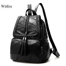 100% echtem leder Große kapazität rucksack für frauen weben quaste schaffell reisetasche sac transport tasche pack für laptop zelle