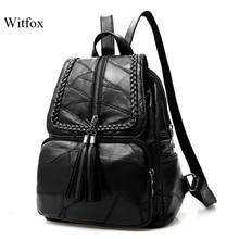 Вместительный рюкзак из 100% натуральной кожи для женщин, дорожная сумка из овчины с кисточками, сумка для ноутбука