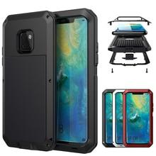 Zware Bescherming Doom armor Metal Aluminium telefoon Case voor Huawei Mate 20 Pro P30 Pro Schokbestendig Stofdicht Cover Met glas