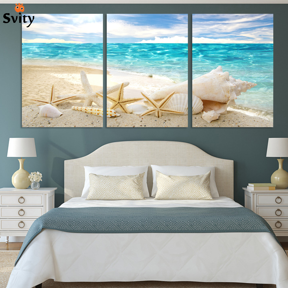 3 Pieces Of Wall Art Deco Seaview Sea Shells Modern Fashion Picture Print On Canvas Painting, Oil Paintings ,Home Decoration