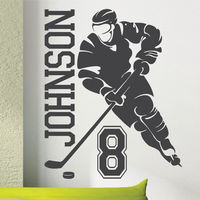 Removable Custom Name Number Hockey Player Sports Vinyl Wall Sticker Bedroom Boys Art Home Decor Curved