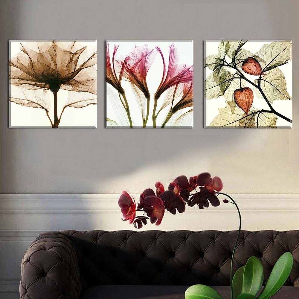 Frameless Canvas Art Oil Painting Flower Painting Design: 3 Panel Abstract Flower Modern Print Frameless Canvas Art
