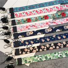 Small Fresh Leaves Neck Strap Lanyards for keys ID Card Gym Mobile Phone Straps USB badge holder DIY Hang Rope Lariat Lanyard(China)