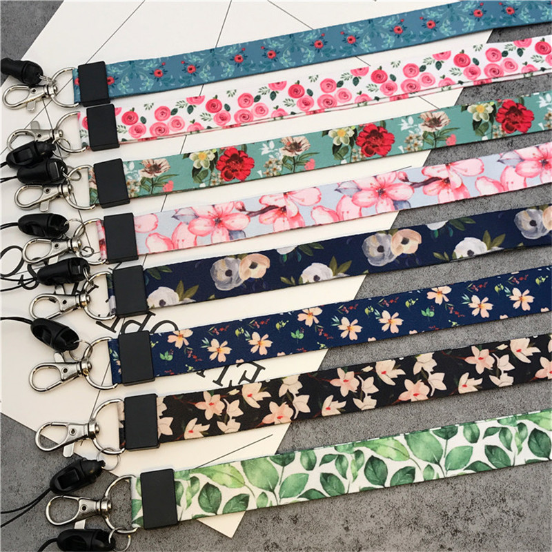 Small Fresh Leaves Neck Strap Lanyards For Keys ID Card Gym Mobile Phone Straps USB Badge Holder DIY Hang Rope Lariat Lanyard