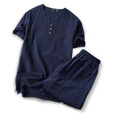 blue sets men clothes 2019 t shirt tshirt men's large size Linen short sleeve t shirt casual v-neck loose big size set M-9XL
