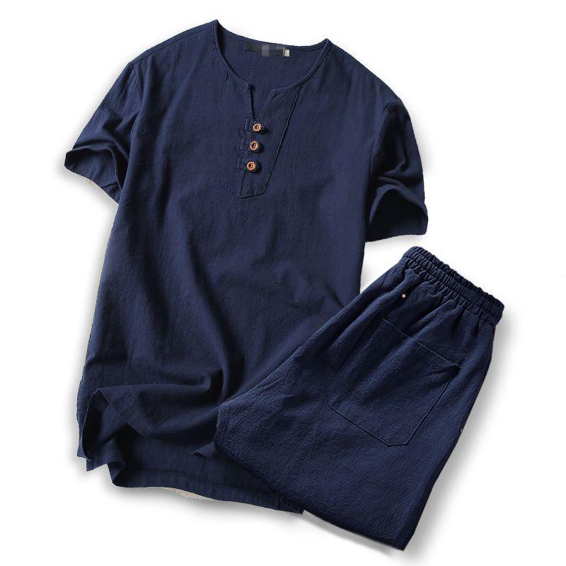 blue sets men clothes 2019 t shirt tshirt men s large size Linen short sleeve t