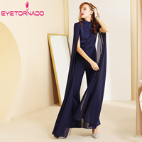 Women Jumpsuit 2019 Summer Long Butterfly Sleeve Wide Lege Chiffon Jumpsuit Plus Size Slim OL Office Rompers Overalls