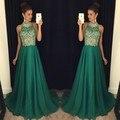 Verde oscuro prom barato vestidos largos de cuello alto listones una línea superior de graduación dress dark navy dress 2017 shgipping libre