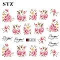 STZ 1 Sheets 2016  DIY Designer Water Transfer Tips Nail Art Pink Rose Flower Sticker Decals Women Beauty Wedding Nails A403
