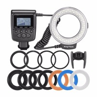 48 Macro LED Ring Flash Bundle with LCD Display Power Control Adapter Rings and Flash Diffusers for Canon for Nikon DSLR