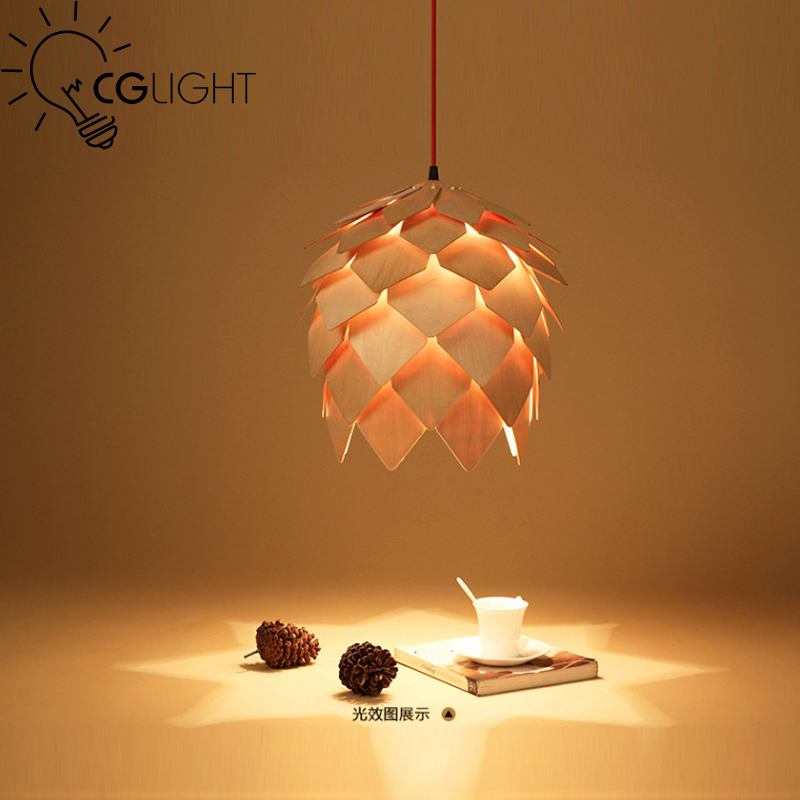 ФОТО New modern novelty creative pine cone pendant light lamp wood lampshade pendant lighting lamp for home living room use