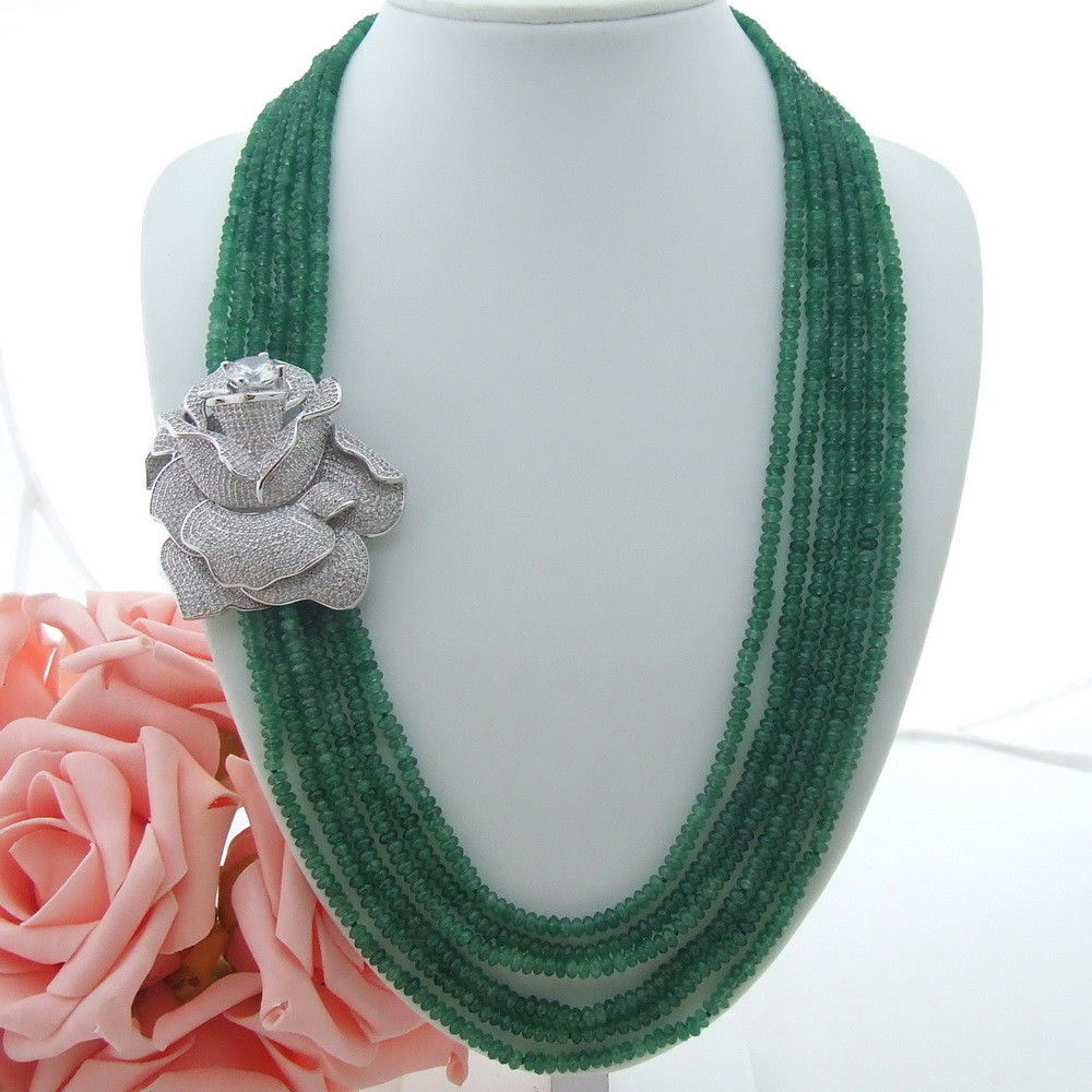 AB071507 24-27 6 Strands Rondelle Green Stone Necklace CZ ConnectorAB071507 24-27 6 Strands Rondelle Green Stone Necklace CZ Connector