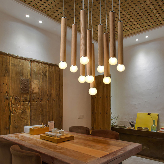 wooden lighting. Lamp Lights Shade Wood Light Dining Led Aircraft Lighting For Room Modern Pendant Wooden Rustic O