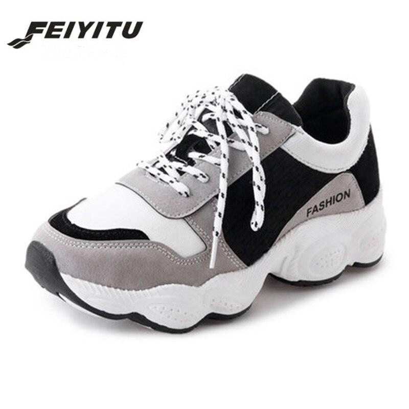 bd918de0196cc5 vert Feminino Confortable Plate Chaussures Femmes 2018 Marche Tenis Blanc  Printemps Feiyitu Gris rouge Appartements Casual De forme Noir Sneakers  Dames ...