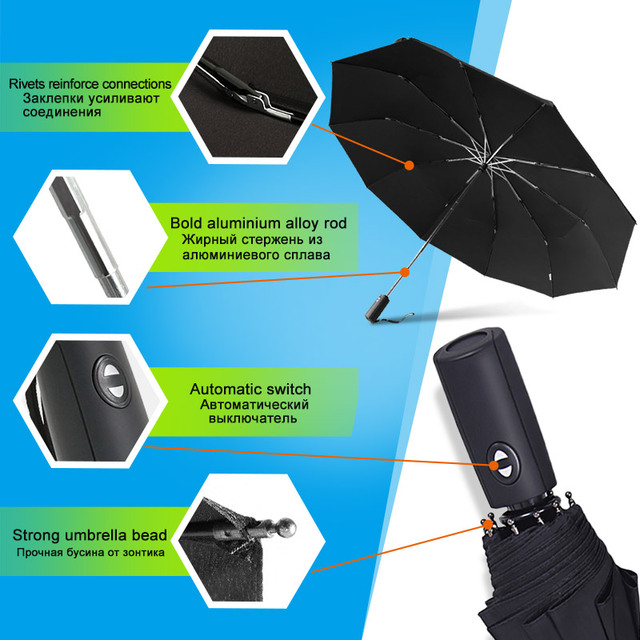125CM Windproof Automatic Umbrella For Men Brand Large Folding Umbrella Rain Woman Double Golf Business Automatic Car Umbrellas 4