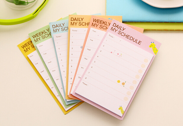 2pcs kawaii weekly daily schedule Memo Pad sticky notes Post it stickers Notepad Office school stationery supply papeleria