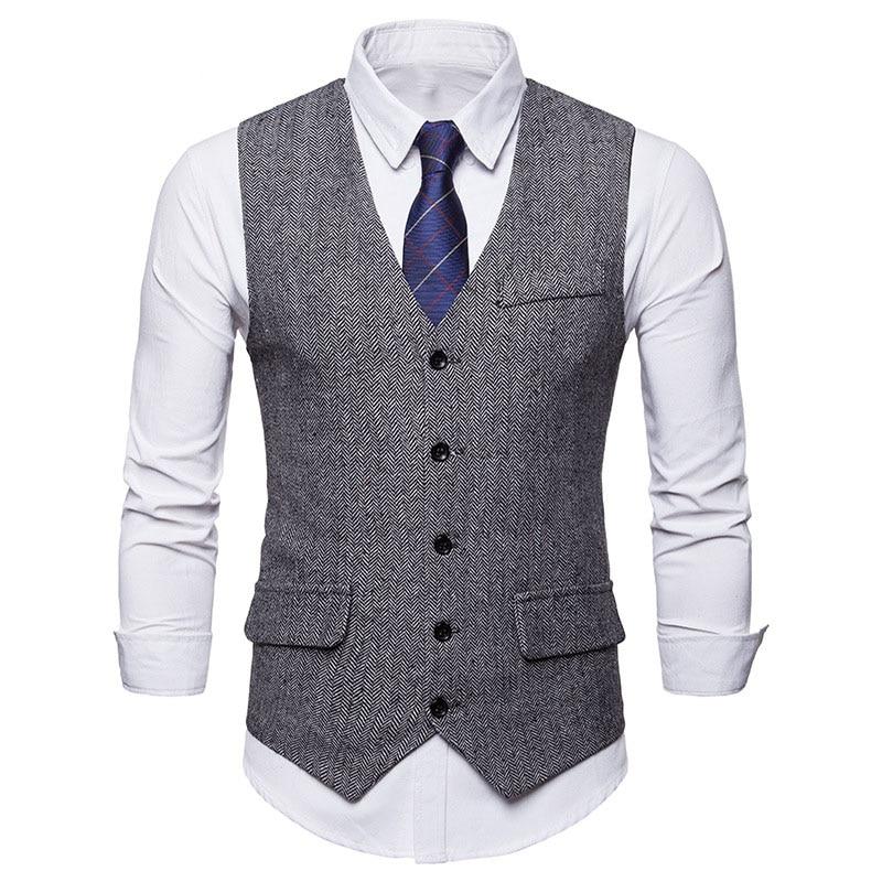 Fashion Single Breasted Woolen Suit Vest Men 2018 Autumn New Sleeveless Wool Vest Waistcoat Men Business Wedding Vests For Men