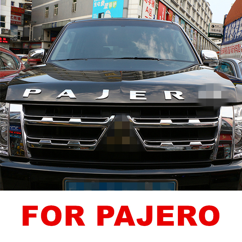 For Mitsubishi Pajero CAR ACCESSORIES Letters Hood Emblem Silver Chrome Plating Logo 3D Sticker Stainless Steel metal
