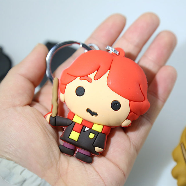3D Harry Potter PVC Keychain Toy Dobby Hermione Granger Malfoy Ron Weasley Snape Action Figure Toys Party Cosplay PVC Key Ring 1