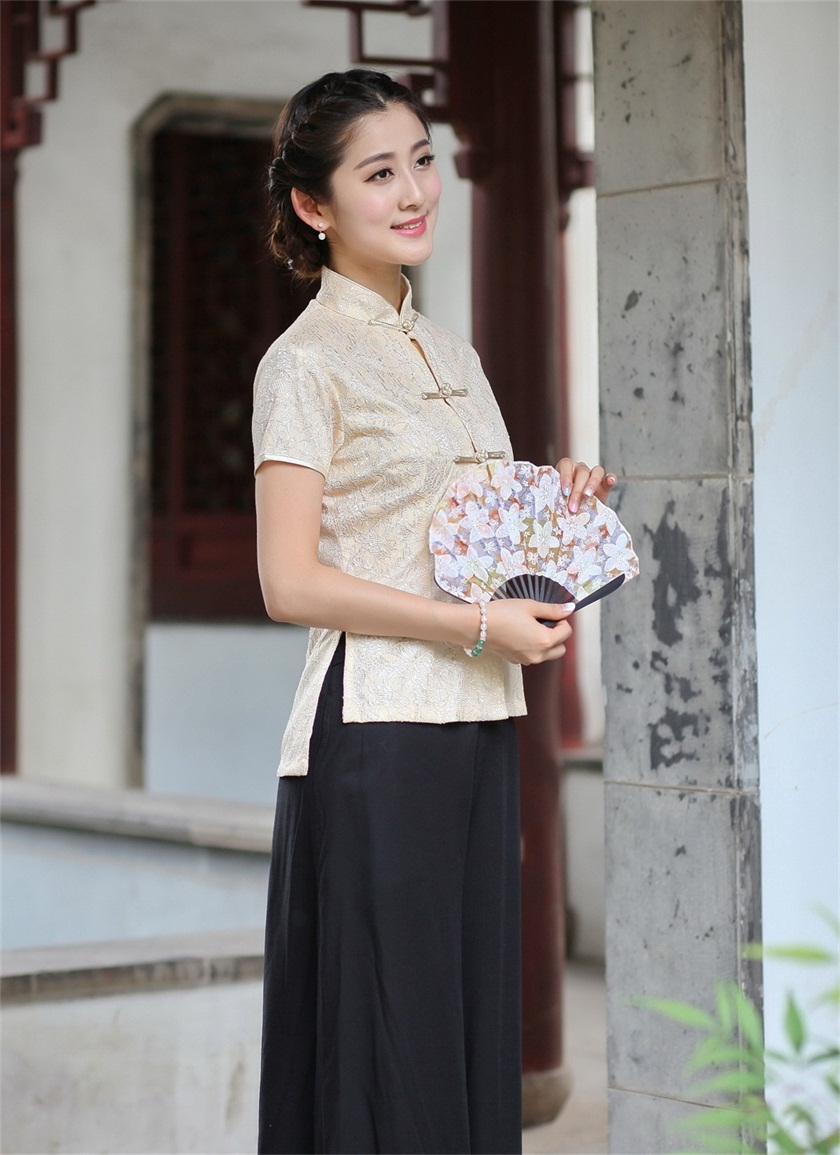 High Fashion 2015 Lace Beige Chinese Traditionary Style Women S Girl Casual Shirt Blouse Tops S