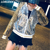 Zipper Streetwear Women Sequins Baseball Jacket Golden Silver Sequined Jacket Spring Autumn Lady Loose Casual Coat Short Outwear