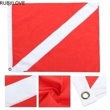 1pcs 35x50cm Polyester Hot Big Diver Down Boat Pennant Flag Scuba Diving Banner International Sign Diving Supplies LTT9293