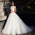 Vestido De Noiva De Renda Charmming Ball Gown Wedding Dresses Lace Applique Open Back Puffy White Tulle Wedding Gowns