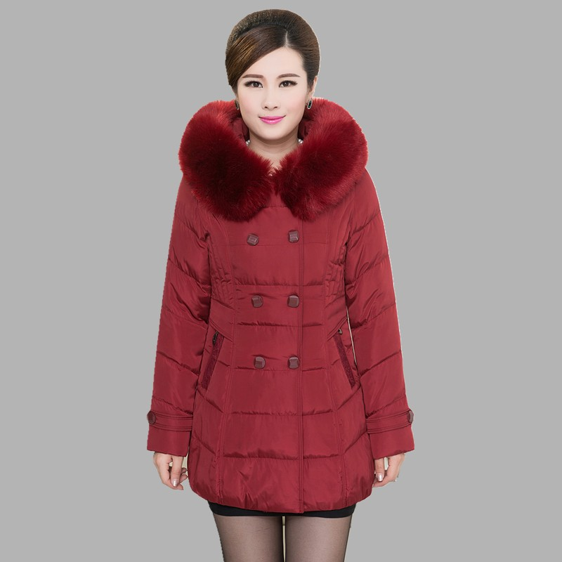 2017 Winter coat women in the long section of large cotton padded middle - aged mother fitted with large wool collar collar sky blue cloud removable hat in the long section of cotton clothing 2017 winter new woman