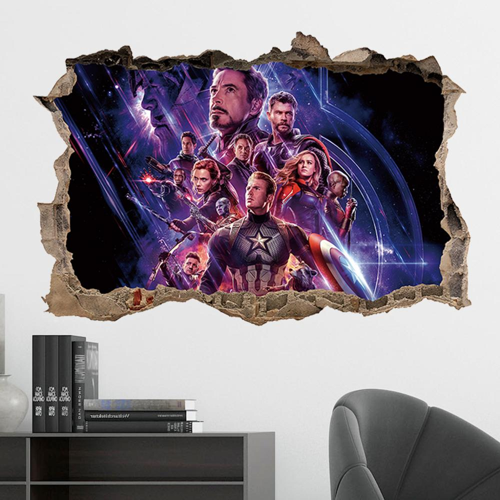 38*57CM Marvel Avengers Series DIY 3D Wall Stickers For Kids Rooms Home Decor Wall Art PVC Posters Stickers Cartoon Waterproof