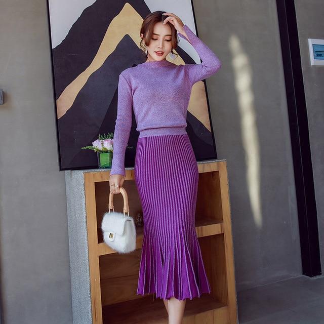 68ebc9a9ba Suéter de punto de moda para mujer falda de dos piezas de otoño e invierno  nuevo