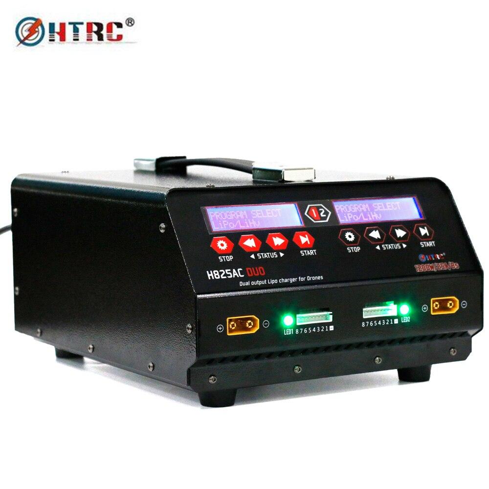 HTRC 1200 W Porta Dupla Zangão Bateria Carregador de Equilíbrio de Alta Potência H825AC Lipo DUO 25A 1-8 s/ lihv Para Rc UAV de Pulverização Agrícola