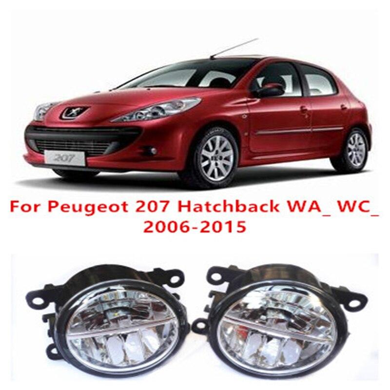 For Peugeot 207 Hatchback WA_ WC_  2006-2015 10W Fog Light LED DRL Daytime Running Lights Car Styling lamps