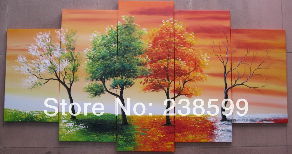 5 Piece Hand Painted Modern Landscape Abstract Oil Painting On ...