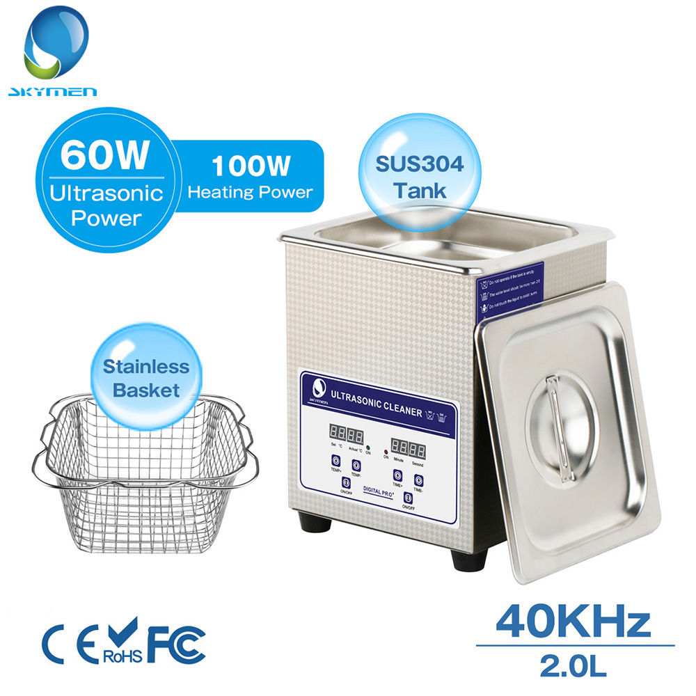 Skymen Ultrasonic Cleaner 2L 0 44 ukgal 60W 40kHz Bath Digital Ultrasound Sonic Cleaner Timer Heat
