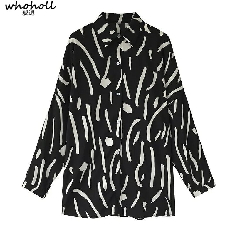 WHOHOLL  Print Shirt Women Chic Full Sleeve Peter Pan Collar Casual Plus Size Clothing Blouses women tops