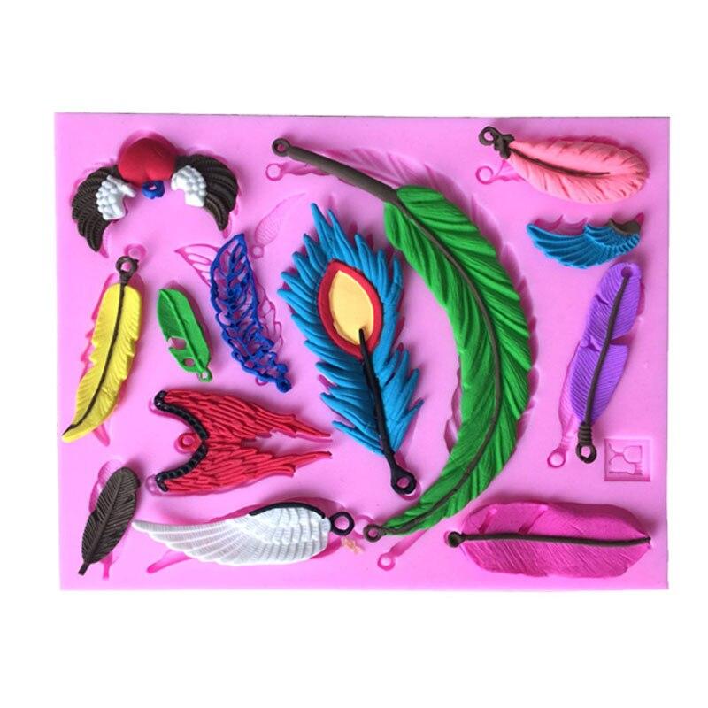 120pcs  Fashion Feather Design Collections Fondant Cake Mold Lace Mold Food Grade Silicone Mold  Baking Decoration Tool ZA0791