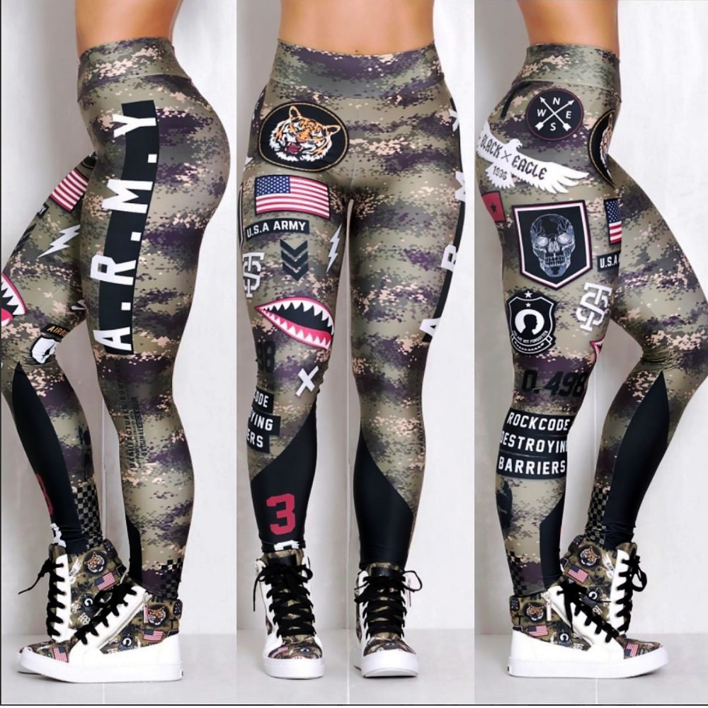 Women Letter Army Yoga Pants 3D Printed High Waist Sports Tights Stretchy Dry Quick Gym Fitness Leggings Drop Shipping