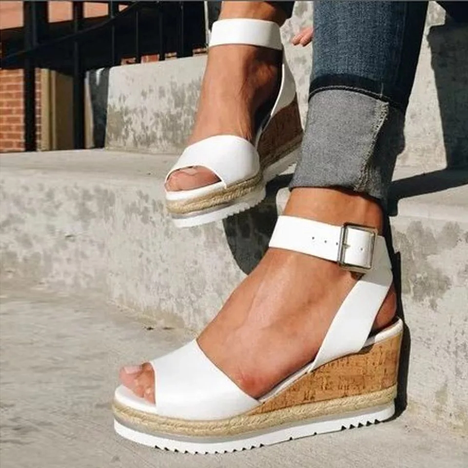 Retro Summer Sandals Women Fashion Open Toe Buckle Ankle High Heels Shoes Platform Wedges Beach Shoes Lady Roman Sandals