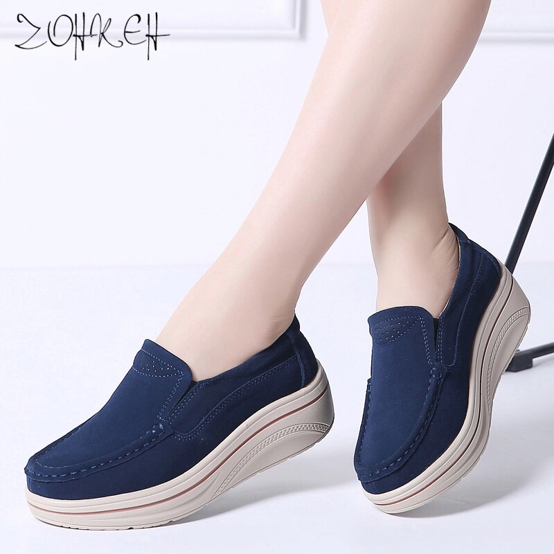 Spring Women Flats Shoes Platform Sneakers Shoes   Leather     Suede   Casual Shoes Slip On Flats Creepers Moccasins Zapatillas Mujer