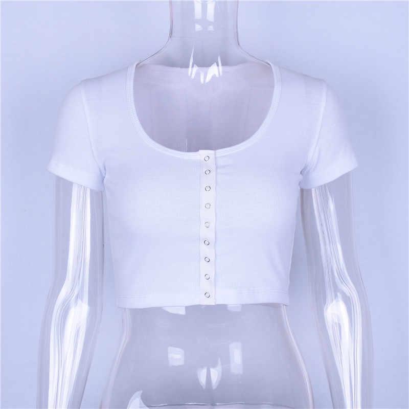 女性のセクシーな白低カット作物トップス夏のファッション野生の固体 Tシャツ弾性スリムソフトトップス固体半袖ボタン Tシャツ