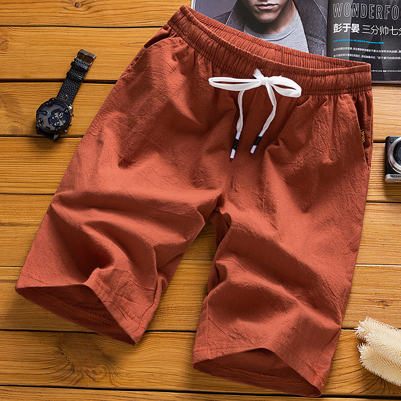 Board Shorts Men's Five-cent Trousers Summer Korean Loose Tide 5 Minutes Cotton And Hemp Leisure Trousers Men's Beach Trousers