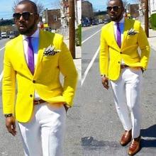 купить!  Желтые повседневные мужские костюмы для выпускного бала с надрезом отворотом однобортный пиджак на